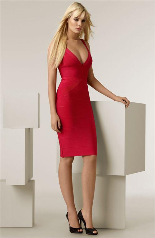 herve-leger-deep-v-neck-dress